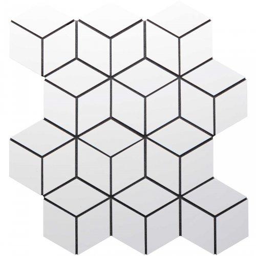 West One Bathrooms AnnSacks Kanso Mosaic Diamond Cube Winter White Gloss