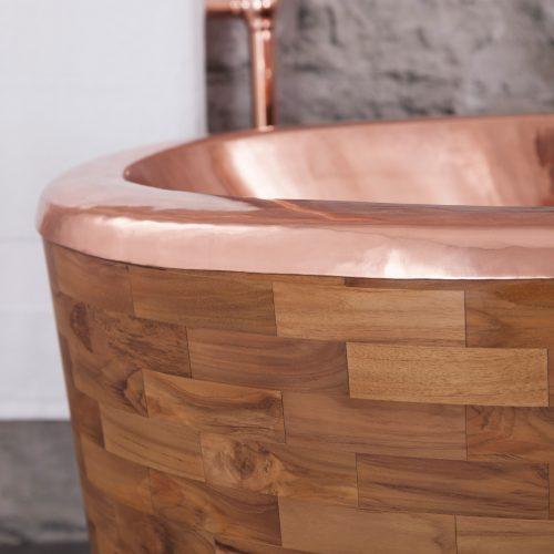West One Bathrooms SAMPAN Teak and Copper Close 2