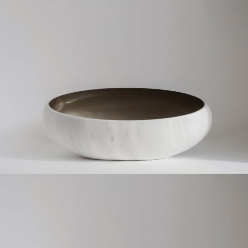 West One Bathrooms –  Gong Surface basin  Gong  Bianco Estremoz and brown shade (1)