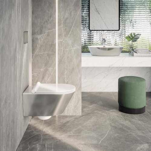 West One Bathrooms Zero 55×35 Newflush bianco argento