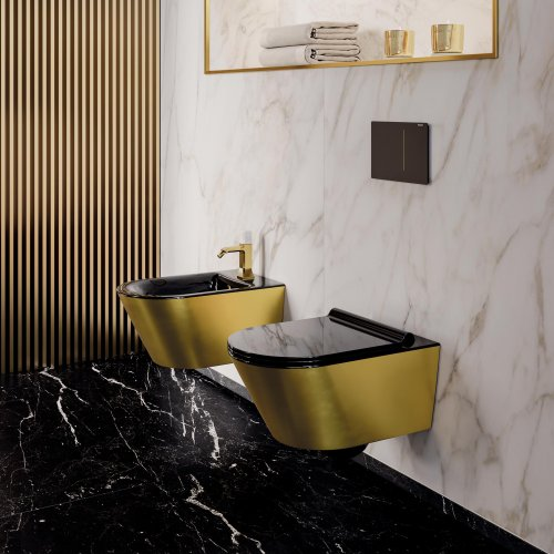 West One Bathrooms Zero 55×35 Newflush e bidet nero oro