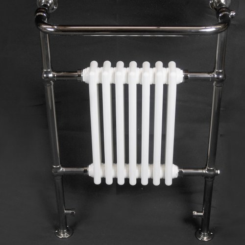 West One Bathrooms ARCADE Lansdowne heated towel rail in Polished Nickel with White radiator ref ARCR1NKL with valve set