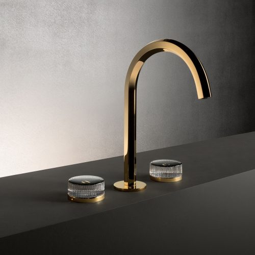 West One Bathrooms Venezia Gold Plus with Crystal Handle Gold Black BASIN