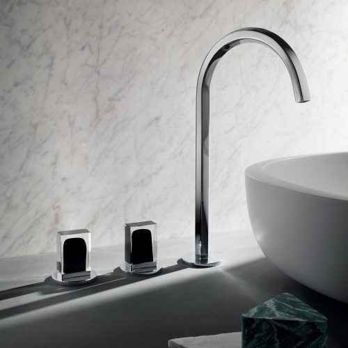West One Bathrooms Venezia High Spout Chrome with Handle Murano Glass chrome black BASIN