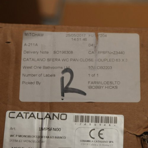 West One Bathrooms Catalano Sfera WC label