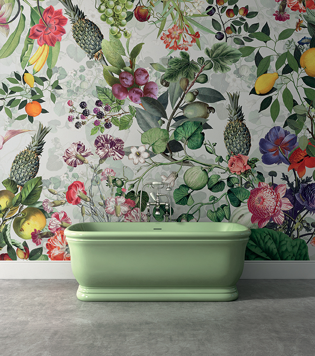 West One Bathrooms   DD Botanica Grey wallpaper by Vito Nesta   Hollywood tub