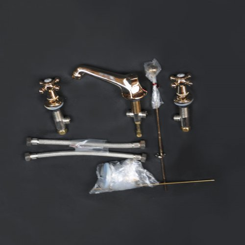West One Bathrooms Luxbrass charleston by THG 3 tap hole basin set and pop up waste, was 1392