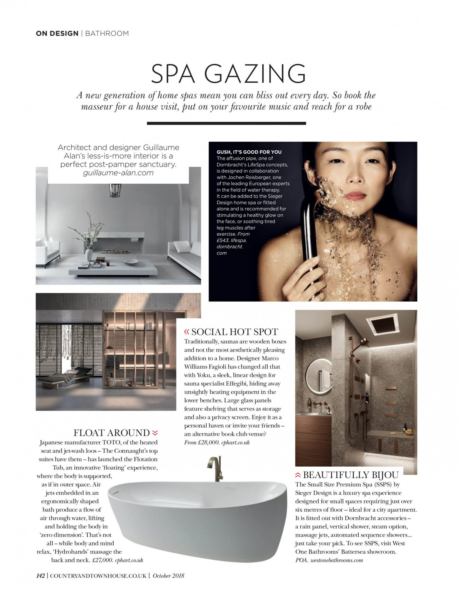 West One Bathrooms Country and Townhouse October 2018 Spa Gazing