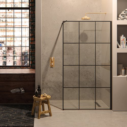 West One Bathrooms Matki Matki ONE Wet Room Panel with Black Framed Effect MOWP