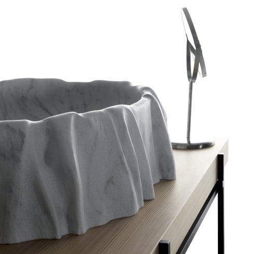 West One Bathrooms Kreoo NAMI Washbasin Bianco Carrara and HASHI Easel (10)