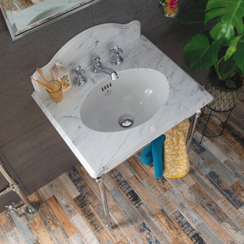 West One Bathrooms Single Statuarietto marble washstand Low res