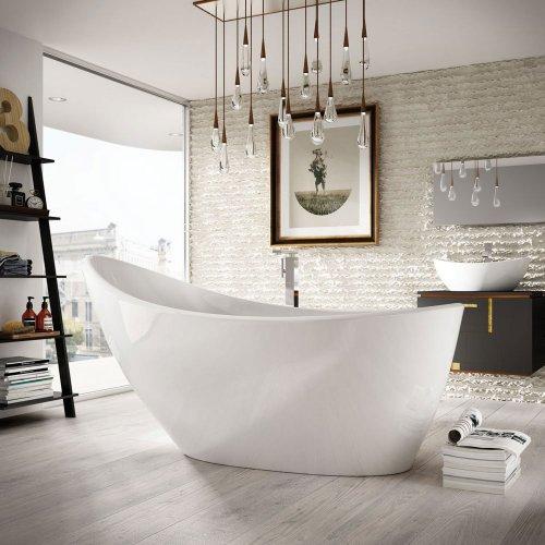 West One Bathrooms AB Isis White Bath Lifestyle