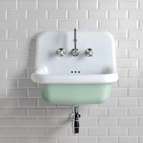 Pastel Green Broadway Basin PS White Tiles