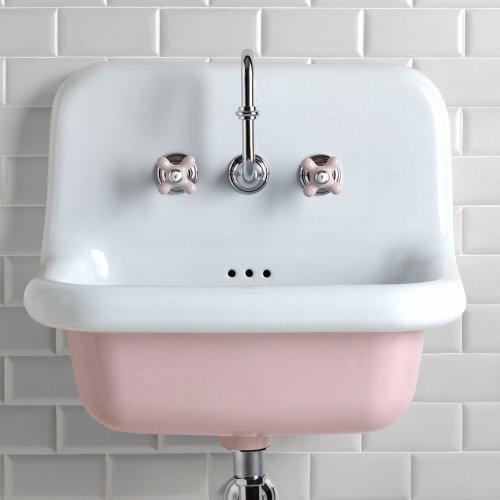 Pastel Pink Broadway Basin PS White Tiles