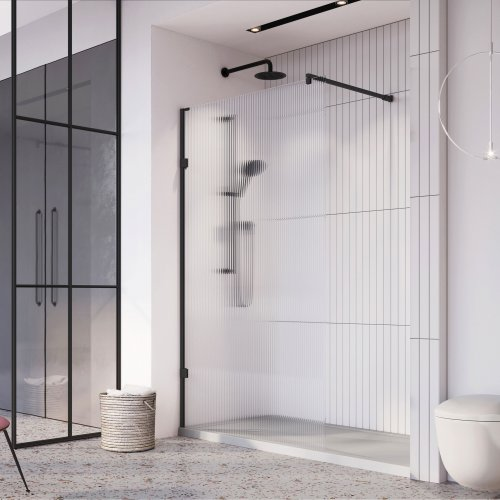 West One Bathrooms Liberty Fluted Glass Wetroom Panel Black Alcove