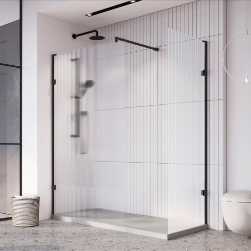 West One Bathrooms Liberty Fluted Glass Wetroom Panel Black Corner