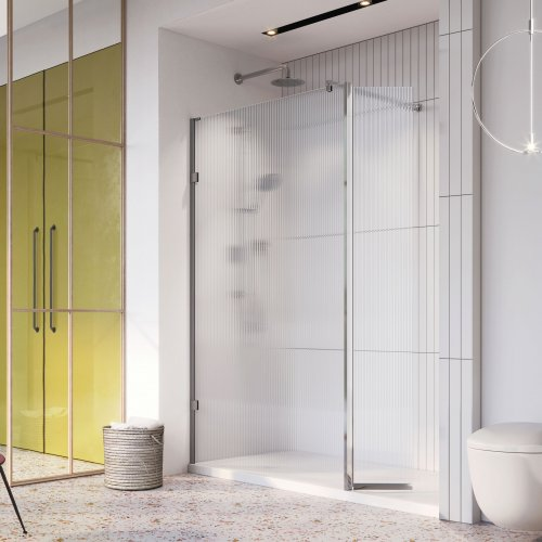 West One Bathrooms Liberty Fluted Glass Wetroom Panel Chrome with Flipper Alcove