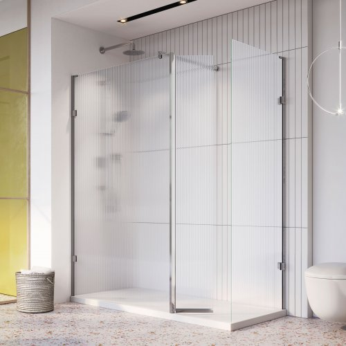 West One Bathrooms Liberty Fluted Glass Wetroom Panel Chrome with Flipper Corner