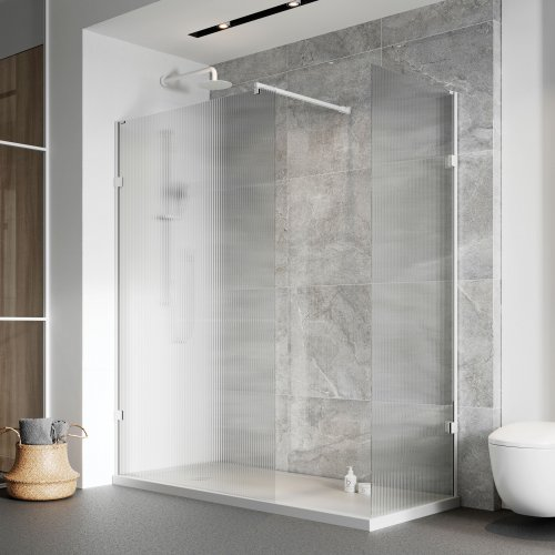 West One Bathrooms Liberty fluted wetroom panels white