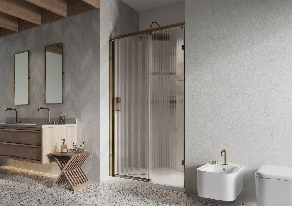 West One Bathrooms Sliding Door fluted glass alcove