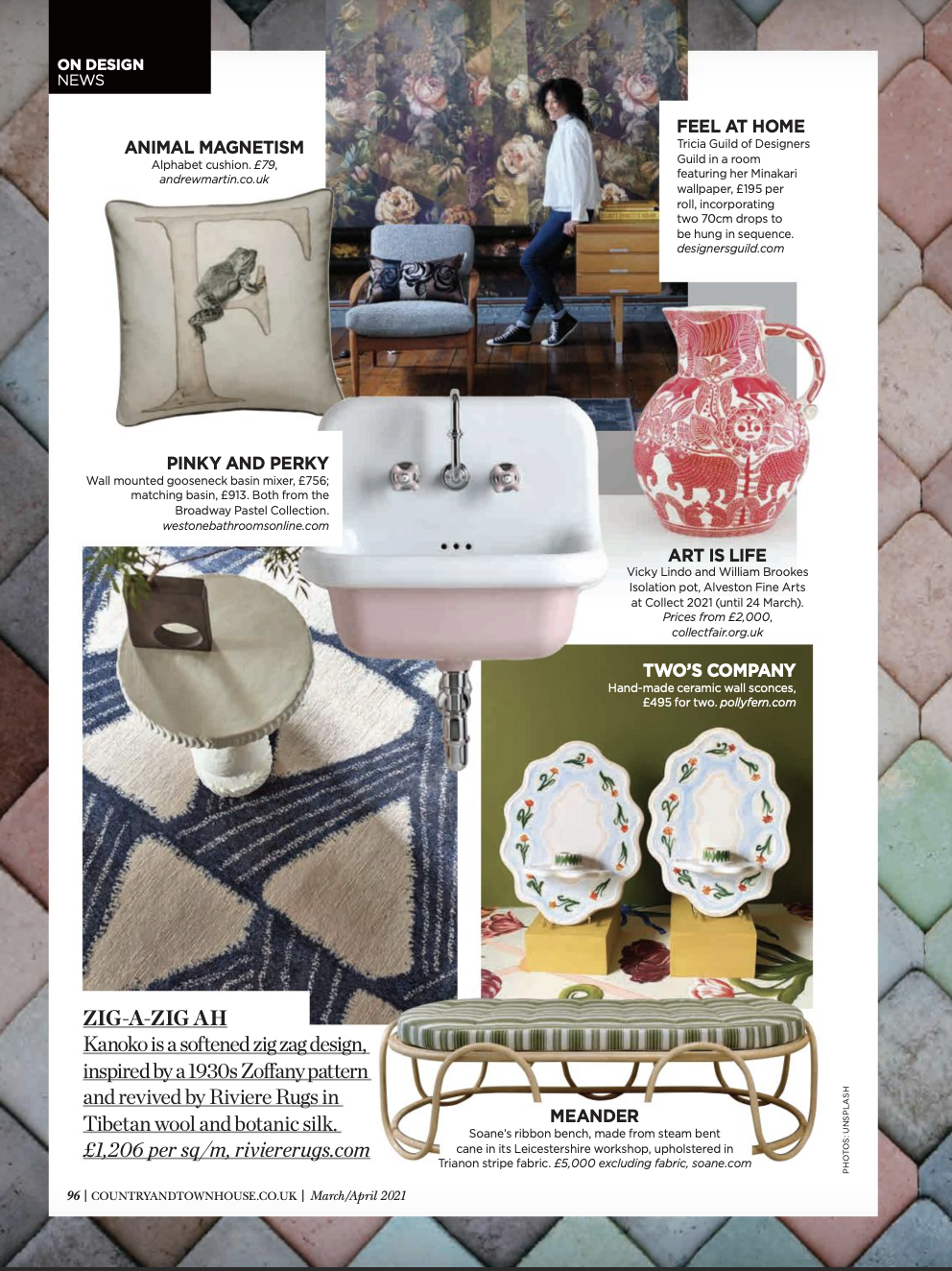 Country & Town House March:April Issue Broadway Basin