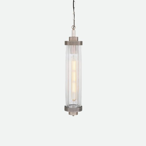 West One Bathrooms LOUISE VINTAGE RIPPLED GLASS AND BRASS BATHROOM PENDANT IP44